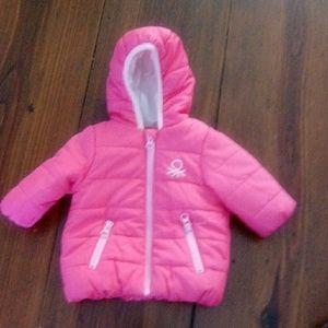 Benetton Baby Pink Winter Coat Sz 1-3 Months